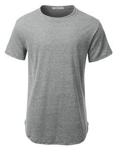 6ff4d996899 LE3NO Mens Hipster Hip Hop Heathered Longline Short Sleeve T Shirt Long A  Line