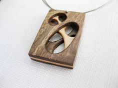 Exotic wood necklace , modernist necklace, abstract pendant, art. FREE SHIPPING