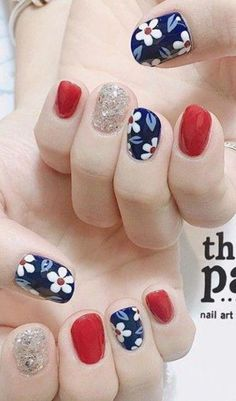 56 Trending Deep Winter Nail Colors And Designs For 2019 – - Best Trend Nails Cute Nail Art, Cute Nails, Pretty Nails, American Manicure Nails, Manicure And Pedicure, Hair And Nails, My Nails, Flower Nails, Nail Decorations