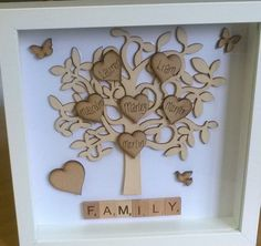 Handmade Scrabble Frames Please visit my Facebook Pagewww.facebook.com/scrabbleartbytam Personalised pictureComes in a WHITE wooden frameChoose up to 7 names Please leave a note at the checkout with the words you wantAlso the family name for the big heart The background is white but if you would like a different colouror something with a pattern let me know. All items are handmade so please allow 3 working days for items tobe posted. They will be sent via courierColours may also vary…