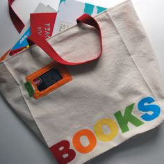 personalized tote bag with library card spot....now I will never loose my library card!