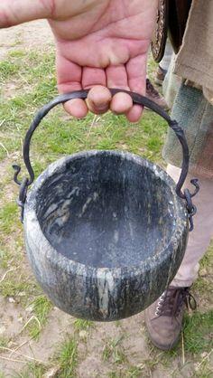 Reproduction of Viking-era soapstone cookpot