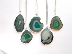 Green Agate Necklace Green Agate Slice Pendant by SinusFinnicus