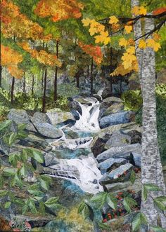 """Fiber Art Quilts-Landscape - by Eileen Williams, """"Skinny Dip Falls"""" 56 x 40 inches 2014 finalist at IQA's Quilt Festival in Houston, Tx."""