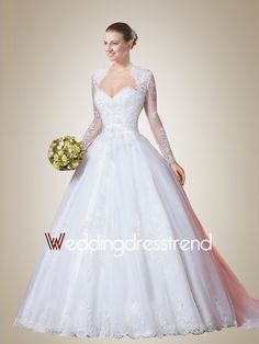 Vintage Sweetheart Court Train Wedding Dress with Long Sleeves