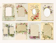 SHABBY FLORAL FRAMES victorian album pages for by MagentaBelle, $3.99