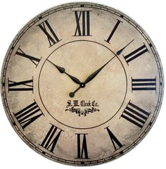 Items Similar To 36 Inch Personalized Grand Gallery Extra Large Wall Clock Roman Numerals Rustic Tan Le Distressed Antique Style Round Wood Tuscan