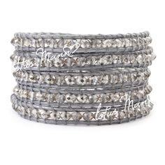 Lotus mann silver artificial crystal silver 5 wraps bracelet