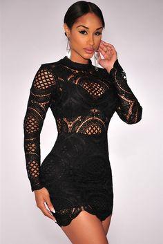 Black Lace High Neck Mini Dress LAVELIQ - LAVELIQ - 1                                                                                                                                                                                 More
