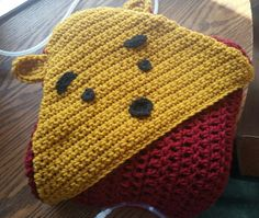Crocheted Winnie The Pooh Inspired Security Blanket