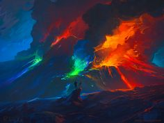 This HD wallpaper is about erupting volcano wallpaper, illustration of volcano, digital art, Original wallpaper dimensions is file size is Volcano Wallpaper, Hd Wallpaper, Wallpapers, Desktop Backgrounds, Fantasy Landscape, Fantasy Art, Fantasy Places, Cities, Your Paintings
