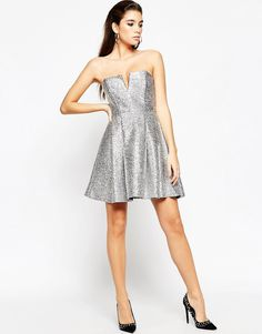 Image 4 of ASOS NIGHT Metallic Fluff Bandeau Mini Dress