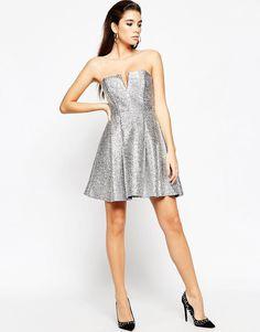 Image 4 ofASOS NIGHT Metallic Fluff Bandeau Mini Dress
