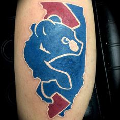 Chicago Cubs tattoo art the Chicago Cub on top of Illinois IL