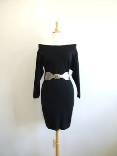 Black Sweater Dress Vintage 80s Off the Shoulder Dress by RedsThreadsVintage, $40.00