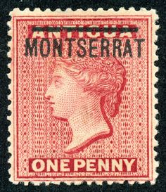 """Montserrat  1876 Scott 1 1p red """"Queen Victoria"""" Stamps of Antigua Overprinted in Black"""