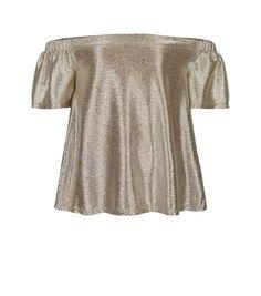 a08926e62e268 Teens Gold Metallic Bardot Neck Top