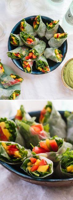 Tropical Mango Spring Rolls with Avocado Cilantro Sauce #springroll #avocado #veggie