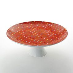 Polka Dots Cake Platter Red, $20, now featured on Fab.