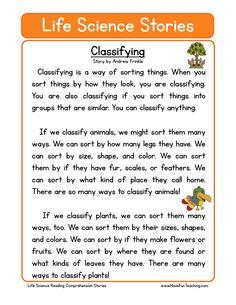 This Reading Comprehension Worksheet - Classifying is for teaching reading comprehension. Use this reading comprehension story to teach reading comprehension.