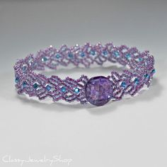 Purple and Blue Beadwoven Seed Bead Bracelet by ClassyJewelryShop, $38.00