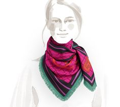 Bete de Concours Hermes fringed cashmere and silk scarf