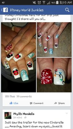 Trendy nails disney christmas minnie mouse - New Ideas Disney Christmas Nails, Xmas Nails, Holiday Nails, Fun Nails, Mickey Nails, Minnie Mouse Nails, Mickey Mouse, Disney Nail Designs, Holiday Nail Designs