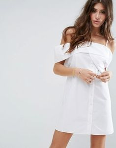 ASOS One Shoulder Fold White Cotton Poplin Dress