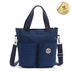 b5b4dda0abf5 Tiny Chou Water Resistant Nylon Tote Style Handbag Cross body Bag  Lightweight Mommy BagNavy Blue