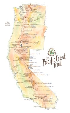 Pacific Crest Trail Map Detailed Watercolor PCT Through Hiker Gift Western Wall Art Print Poster The Effective Pictures We Offer You About Oregon usa A quality picture can tell you many things. Pct Trail, Trail Maps, Appalachian Trail, Pacific Crest Trail, Pacific Coast, Pacific Northwest, Thru Hiking, Camping And Hiking, Backpacking Tips
