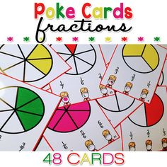 This Fraction Review Poke Cards packet is a fun, hands on, self-checking and interactive activity to practice and review fractions. Just print, laminate, trim, hole punch the three crosses on the cards (see thumbnails - also, could use these as punch cards), use a pen, marker, or