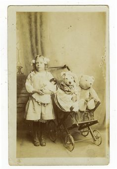 c 1910 Vintage Antique GIRL w/ TEDDY BEAR & Dog unique private photo postcard