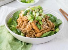Unlike a lot of take away noodles and stir fries which can be quite oily and sweet, these Chicken and peanut sesame noodles contain minimal oil and no added sugar.