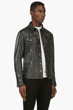 DIESEL Black Leather L-FOCKE Jacket