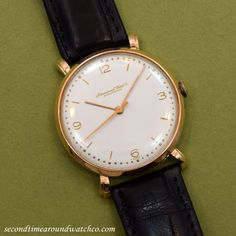 A 1948 18K Light Rose Gold IWC Caliber 89 timepiece with an original, but restored dial with raised, rose gold Arabic numerals and bar markers. (Store Inventory # 10232, listed at $3150, available for purchase in store and online!)  #iwc #rose #gold #18k