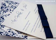modelo 77: convite de casamento clássico em azul marinho e branco, com laço channel - Galeria de Convites