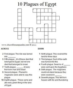 Ten Plagues of Egypt crossword puzzle. Mystery of History Volume Lesson 19 Plagues Of Egypt, 10 Plagues, Bible Games, Bible Activities, Sunday School Lessons, Sunday School Crafts, Bible Quiz, Children's Bible, Bible Quotes