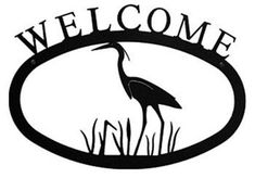 Wrought Iron Large Heron Welcome Home Sign Large