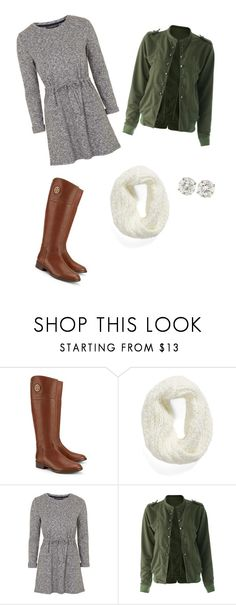 """""""Grey dress and green jacket"""" by lolocan on Polyvore featuring Tory Burch, Collection XIIX and Topshop"""