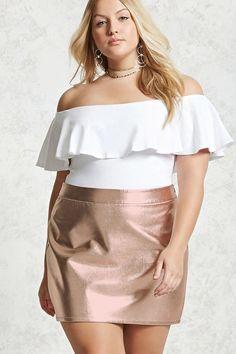 Forever 21+ - A woven mini skirt featuring a metallic sheen, back princess darts, and a hidden side zipper.