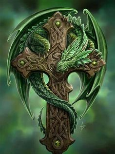 Green dragon on a cross
