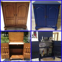 Mini-bar before and after using van Gogh Chalk Paint @ Pinterest Addict