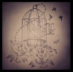 """Add a Roman numeral clock behind it bird cage tattoo with """"The door is open, now let yourself be free."""""""