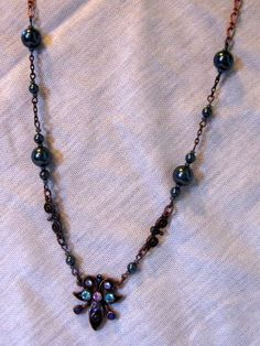 Antique Copper chain necklace with pendant by ConfectionsMeliBee, $20.00