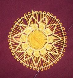 """Nanduti is a traditional Paraguayan needle-woven lace that imitates the appearance of a spider web. Nanduti means """"spider web"""" in the Guar. Tenerife, Pin Weaving, Tablet Weaving, Needle Lace, Bobbin Lace, Circular Loom, Types Of Lace, Gingham Fabric, Chicken Scratch"""