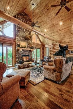 Log cabin interior ideas a mountain log home in new dream homes log home interiors log home living log home decorating log cabin wall paint colors Log Cabin Living, Log Cabin Homes, Log Cabin Kitchens, Mountain Living, Mountain Homes, Cozy Living, Log Cabin Bathrooms, Mountain House Decor, Cabin Style Homes