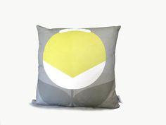 Minimalist flower yellow AGRESTO_ON_GREY cusion cover Alchemy, Minimalist, Throw Pillows, Flower, Yellow, Grey, Fabric, Gray, Tejido