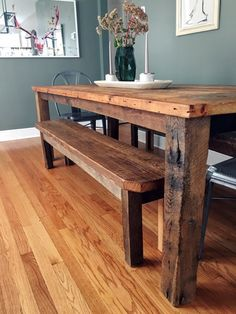 Reclaimed Wood Farmhouse Dining Table Textured Finish By Wwmake