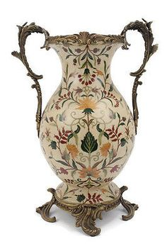 """Elegant French Chinoiserie Porcelain Vase with Brass Ormolu Accents 17.5"""""""