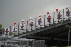 Brighton High School. Banners for football players